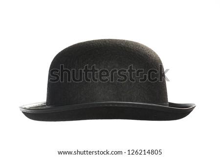 Black bowler hat on white background. - stock photo
