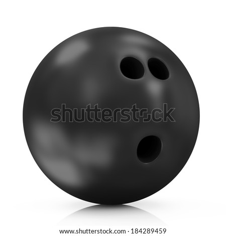 Black Bowling Ball isolated on white background - stock photo