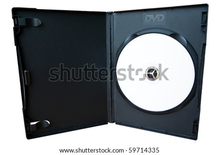 Black Box CD storage with DVD disc on white background - stock photo
