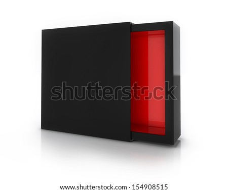 Black Box with red Inside Isolated on White Background - stock photo