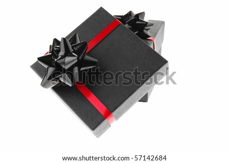 black box with red type isolated on white - stock photo