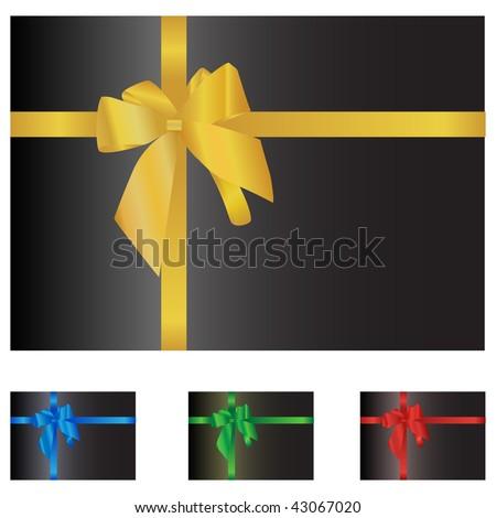 Black box with ribbon isolated on white - stock photo