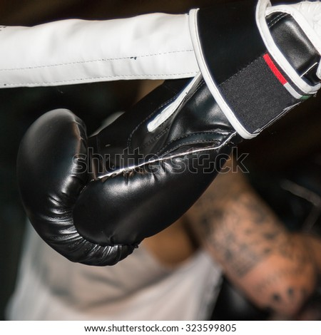 Black Boxing Glove Linked to Ring Ropes and Boxer's Tatooed Arm in background