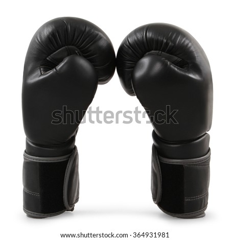 Black boxing gloves isolated on white - stock photo