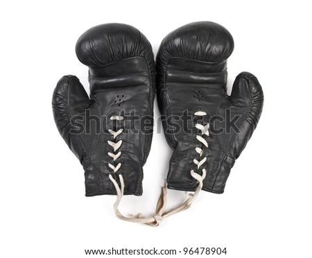 black boxing gloves isolated on white background - stock photo