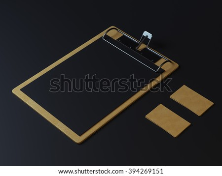 Black branding elements. Restaurant or cafe menu in clip board. Craft style cards - stock photo