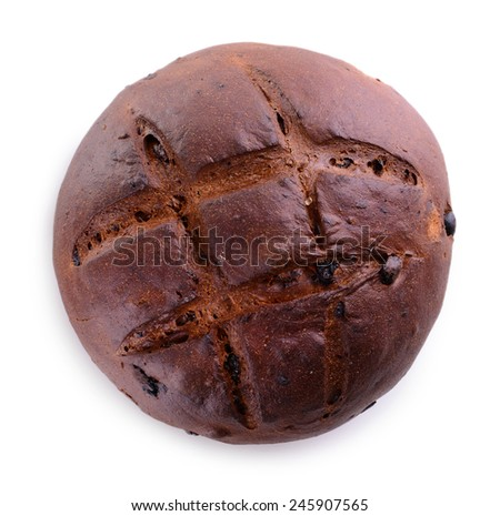 Black bread isolated on white - stock photo