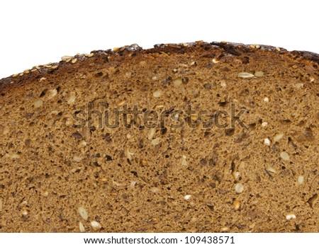 black bread slice - stock photo