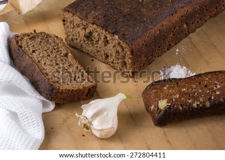 black bread with garlic and sea salt - stock photo