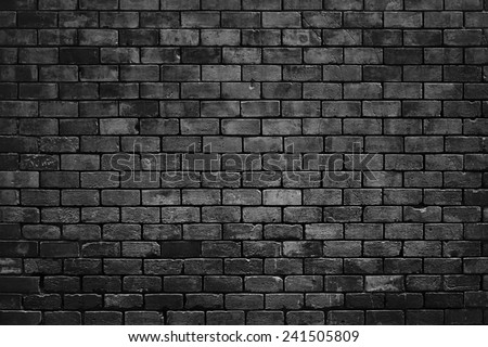 BLACK BRICK WALL TEXTURE - stock photo