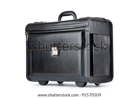 Black briefcase isolated on the white - stock photo