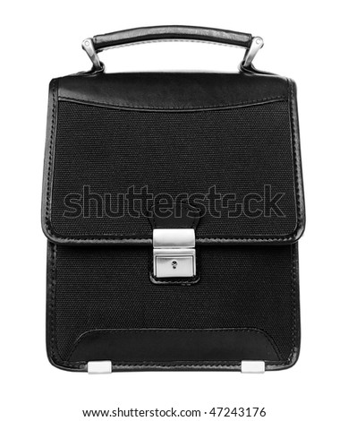 Black briefcase isolated on white