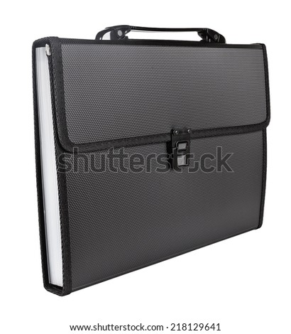 black briefcase isolated on white background