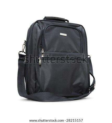 Black briefcase isolated on white background.