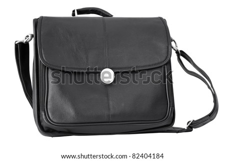 Black briefcase isolated on white background - stock photo