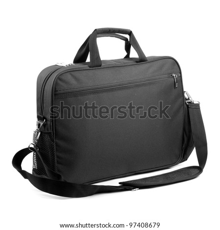 Black briefcase on a white background. - stock photo