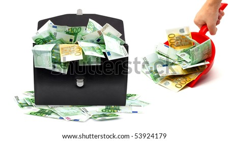 Black briefcase with money and dustpan on a white background - stock photo