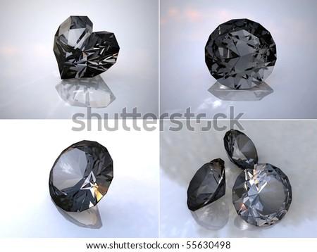 Black brilliant. Set 3D images a gems. - stock photo