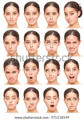 black brunette pigtails young caucasian woman collection set of face expression like happy, sad, angry, surprise, yawn isolated on white - stock photo