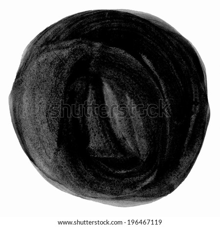 Black brush circle. Drawing created in ink sketch handmade technique. Blank abstract textured round shape. - stock photo