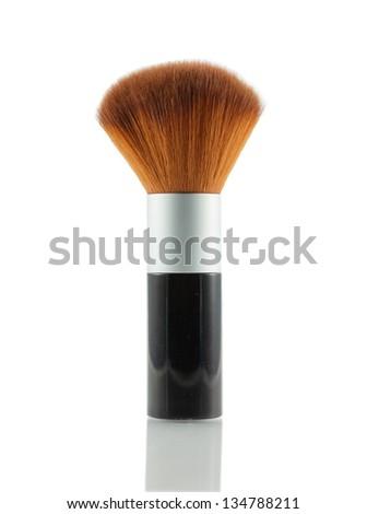 Black brush-on with reflection isolated on white background - stock photo