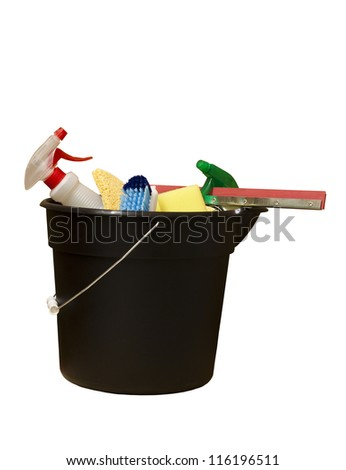 black bucket of cleaning supplies with clipping path at original size