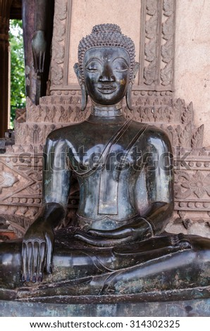 Black Buddha in Laos - stock photo