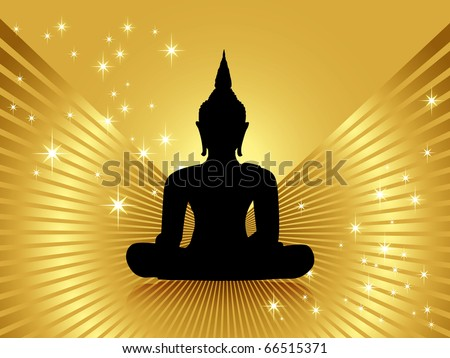 Black buddha silhouette incl. clipping path, isolated against golden background with rays and stars - stock photo