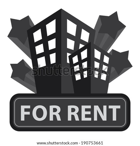 Black Building, Apartment or Office For Rent Icon or Label Isolated on White Background - stock photo
