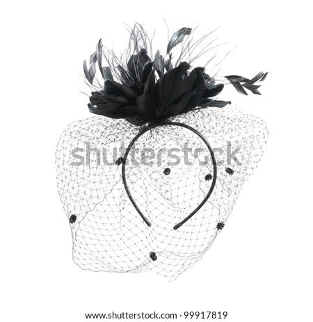 Black burlesque veil isolated on a white background. - stock photo