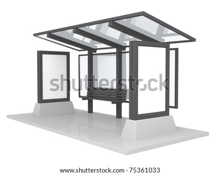 Black Bus stop with bench on white
