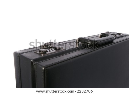 Black business briefcase isolated on white background - stock photo