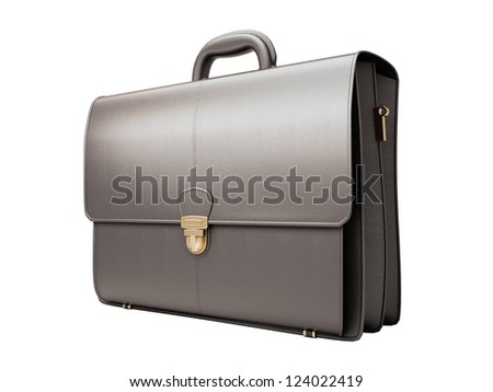 Black business briefcase isolated on white background. Material - skin - stock photo