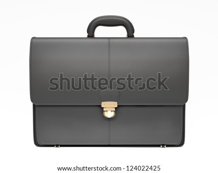 Black business briefcase isolated on white background. Material - skin. Front view