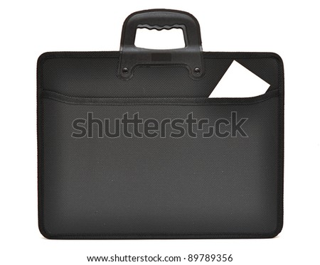Black business briefcase on white