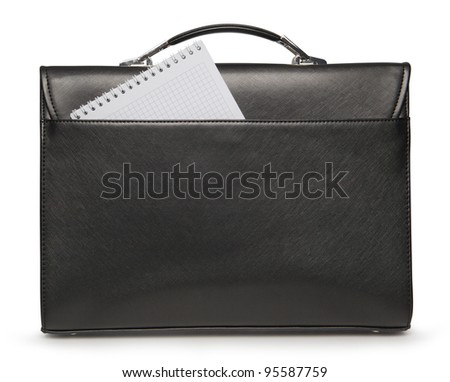 Black business briefcase with blank notepad as place for text on white background with clipping path - stock photo