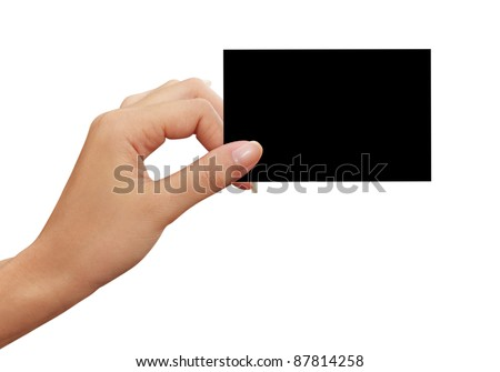 black business card in woman hand
