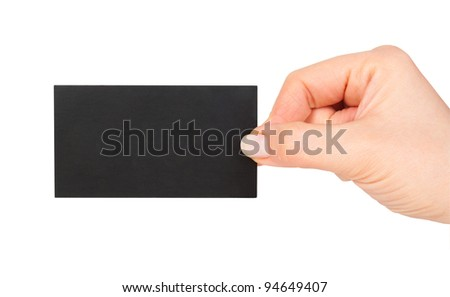 black business card in woman hand - stock photo