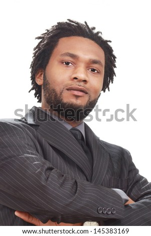 Black business man deep in thought - stock photo