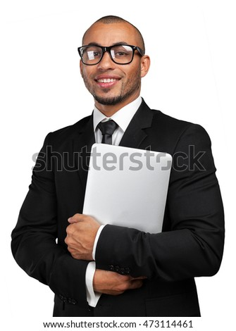 black business  man with laptop