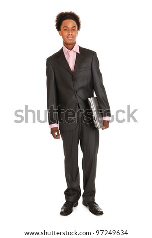 Black business man with laptop isolated over white background - stock photo