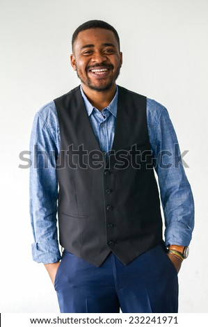 black business man with smile - stock photo