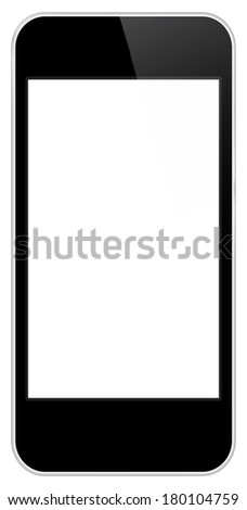 Black Business Mobile Phone Similar To iPhone Isolated On White - stock photo