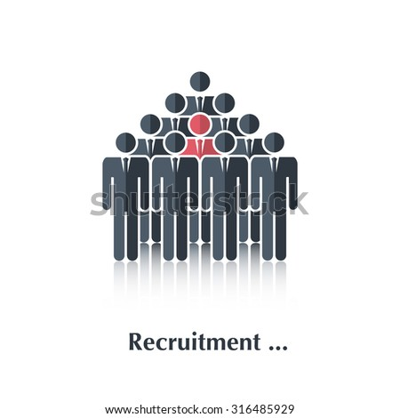 Black  business people icon,pictogram,symbol,sign.Concept recruitment, selection,choice of the person in the crowd,over white with text Recruitment,in flat stile - stock photo