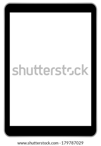Black Business Tablet Similar To iPad Isolated On White Background - stock photo