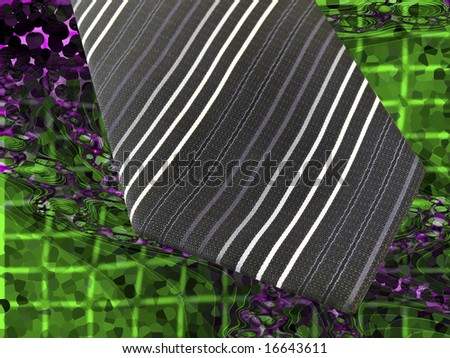 Black Business Tie on Cool Modern Abstract Green Purple Background