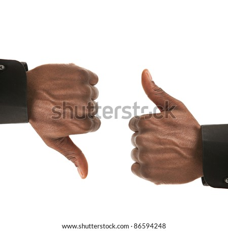 Black Businessman Hands Gesture Up Down Isolated on White Background - stock photo