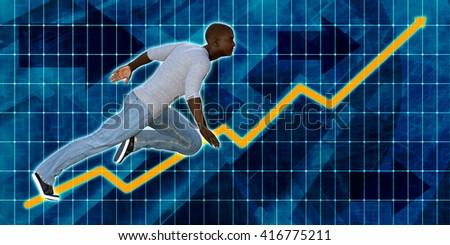 Black Businessman Running with Chart Graph Background Art 3D Illustration Render - stock photo