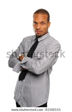 Black businessman with arms crossed isolated on a white background