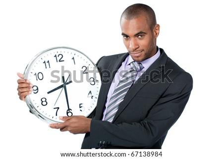 black businessman with clock - stock photo